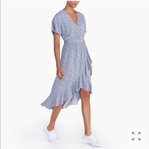 J. Crew Mercantile Blue Floral Hi/Low Ruffle Dress